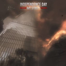 Why is the 'Independence Day' marketing team showing fiery images of Ground Zero?